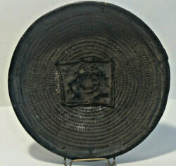 Very Old, Ancient Woven Bowl/plate With Leather Edging/stitching And Center