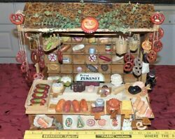 Antique German Dollhouse Storefront Bakery Grocery Over 125 Miniature Items