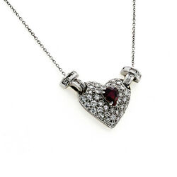 18k White Gold 1.28 Ct Diamonds And 0.50 Ct Ruby Heart Necklace Size 17