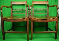 Pair Of 19th C English Regency Saddle Seat Library Armchairs