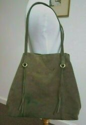 Womens HOBO Bags Olive Green Large Suede Leather Hobo Shoulder Bag $30.00