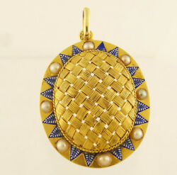Antique Victorian Pendant 18k Gold Enamel Pearls French 5695