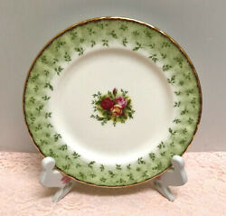 🌹 Rare Royal Albert Old Country Roses England Green Accent Salad Luncheon Plate