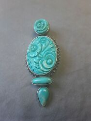 Amy Kahn Russell Turquoise 925 Sterling Silver Carved Flower Pendant And Brooch