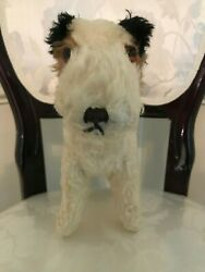 Antique Hermann Germany Fox Terrier Dog Mohair Straw Stuffed 11x9in Glass Eyes