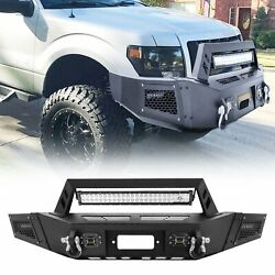 Heavy Steel Front Bumper W/led Lights Bar D-rings Winch For 2009-2014 Ford F150