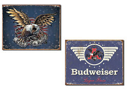 Set Of 2 Vintage-style Signs - Live To Ride And Budweiser Man Cave Office Garage