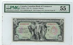1935 5 Canadian Bank Of Commerce Chartered Banknote Pmg Au55 751804a