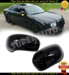 Fit 2005-2010 Chrysler 300/300c 2pcs Black Mirror Cover Overlay Charger Magnum