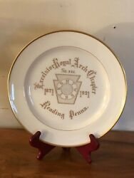 Rare Antique 1871-1921 Excelsior Royal Arch Chapter Reading Penna Lenox Plate
