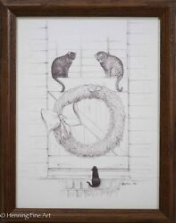 Original Ink Drawing Of Christmas Farm Scene With Three Cats And Wreath, Signed 4