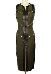 MICHAEL KORS Collection Dress sz 0 Green w Black Leather Trim Safari NWT $3260