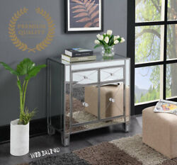 Glam Mirrored Chest Console End Table Side Accent Storage Cabinet Drawer Silver