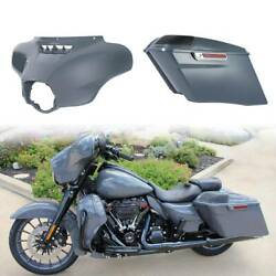 Gray Outer Fairing Stretched Saddlebags For Harley Electra Glide 14-20 Tcmt