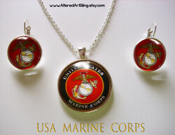 Usa Marines Pendant And Earring Set,ready To Ship,gift Boxed,military Jewelry