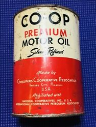 Co-op Premium Heavy Duty Motor Oil One Quart Oil Can Solvent Refined Canco 1 Qt