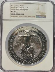 2020 Great Britain 10 Oz Silver Queens Beasts Falcon Ngc Ms69
