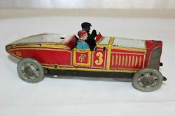 Antique 1930s Paya Spain Wind Up Tin Litho Toy Racer Car No Arnold Bing Tippco