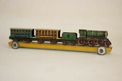 Antique German Penny Toy Train With Cars Tin Litho Toy No Meier Fischer Distler