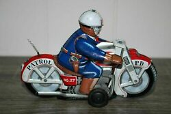 Vtg 1950s T.t. Takatoku Police Department Motorcycle Wind Up Tin Litho Toy