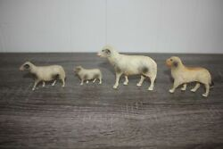 Antique Japan Celluloid 3 Sheep And Dog Group Vintage Toy