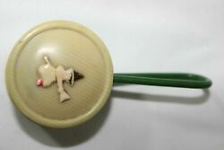 Antique Celluloid Viscoloid Halloween Witch Riding Broom Rattle Ornament Toy