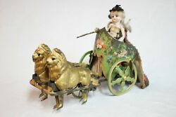 Antique Germany Tin Lion Drawn Chariot With Bisque Doll Hand Painted Wind Up Toy