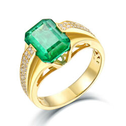 Jewelry Sets Vintage Solid 14k Yellow Gold Full Cut Diamond Green Emerald Ring