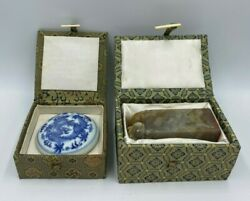 Antique/vintage Chinese Ink Chop W/carved Jade Seal Stamp And Pot Of Wax In Boxes