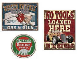 Three Vintage Style Tin Signs - Busted Knuckle Garage, Sinclair Oil, No Tools