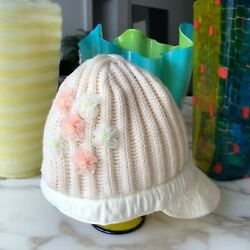 Kids Wool Cloche Hat W/ Gold-tone Button And Flowers Application
