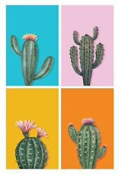 Cactus Posters Set Of 4 11x17 Inches Wall Art Print Cacti