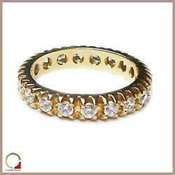Yellow Gold Ring 14 Carats Faith Eternity Band Ring Women's with Zircons Bright