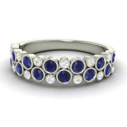0.91 Ct Natural Blue Sapphire Band Solid 950 Platinum Diamond Rings Size 6 7 8 9