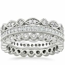 Real 1.00 Ct Diamond Engagement Ring Solid 14k White Gold Eternity Band 6 7 8