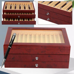 3layer 34pens Wooden Box Pen Display Case Fountain Wood Storage Collection Stock