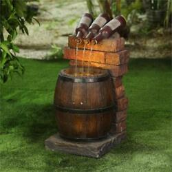 Luxen Home Resin Wine Bottle And Barrel Outdoor Fountain With Led Lights