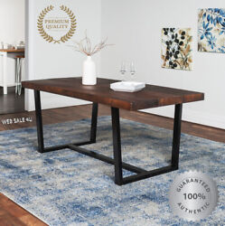 Rustic Solid Wood Dining Table Farmhouse Large Distressed Plank Top Slab Style