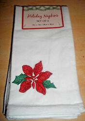 New Set Of 4 White Fabic With Red Pointsetta Napkins 19 X 19