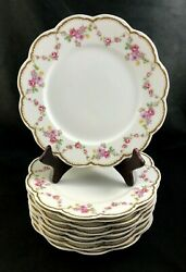 🟢 Set Of 9 Frank Haviland Limoges Paris Pink And Yellow Swag 9 5/8 Dinner Plate