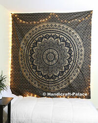 Indian Black Gold Ombre Wall Hanging Hippie Mandala Tapestry Bohemian Bedspread