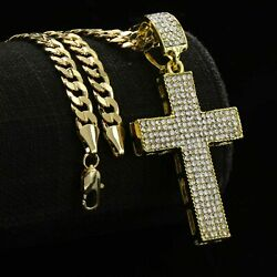 Fully Cz Two Sided HOLLOW CROSS Mens 14k Gold Plated Cuban Chain Link 6mm 24inch $12.99