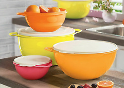 Tupperware Thatsa Bowls Set Of 4 Yellow Orange Red White Seals March 2020 New