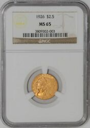 1926 2 1/2 Gold Indian 2.5 Ms65 Ngc 931672-12