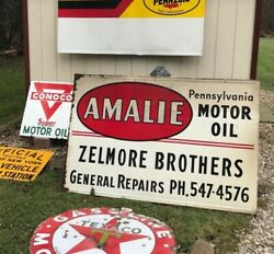 Vintage Original Pennsylvania Gas Motor Oil Advertising Sign Amalie Dealer Ships