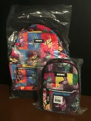 New Fortnite Colorful Llama Multiplier Backpack/lunchbox Set-officially Licensed