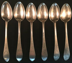Set Of Six Philadephia Coin Silver Bird Back Table Spoons D. Hall 1760andrsquos-1770andrsquos