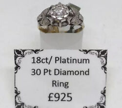 Genuine Art Deco 18ct Yellow Gold And Platinum Diamond Solitaire Ring. Offers