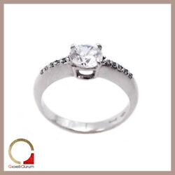 White Gold Ring 18 Kt. Solitaire Faith Women's with Zircons for Engagement