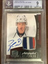2010-11 UPPER DECK THE CUP #180 TAYLOR HALL RPA RC PATCH AUTO 3 COLOR BGS 910